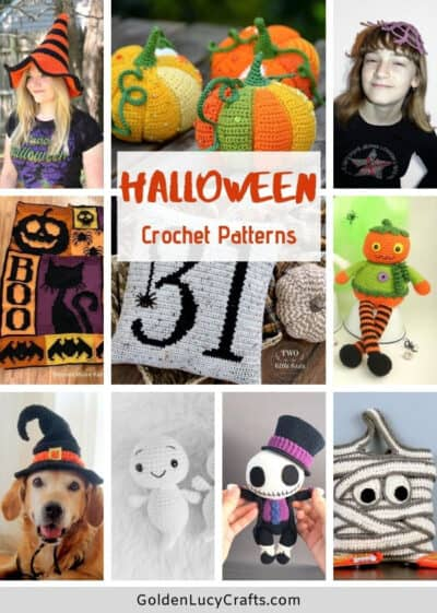 Halloween crochet patterns picture collage.