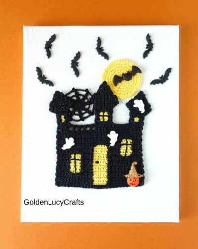 Haunted house crochet wall art