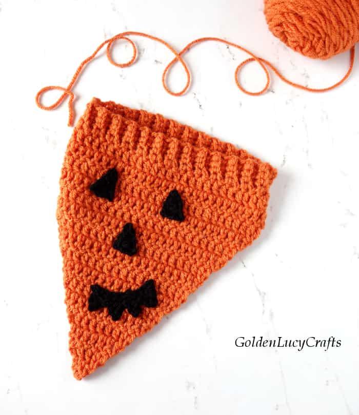 Jack O Lantern crochet dog bandana