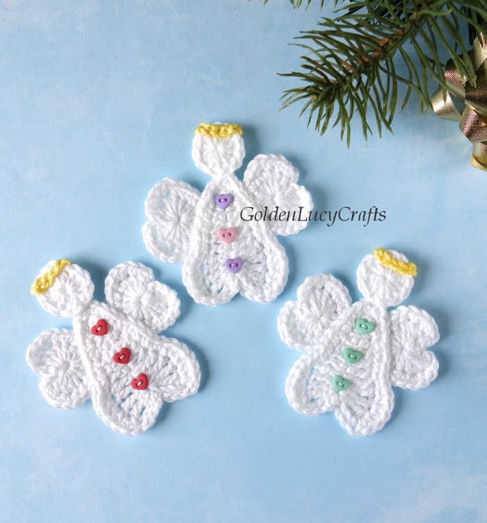 Three crochet Christmas angels