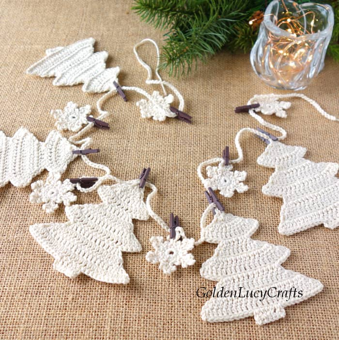 Christmas tree garland in neutral color
