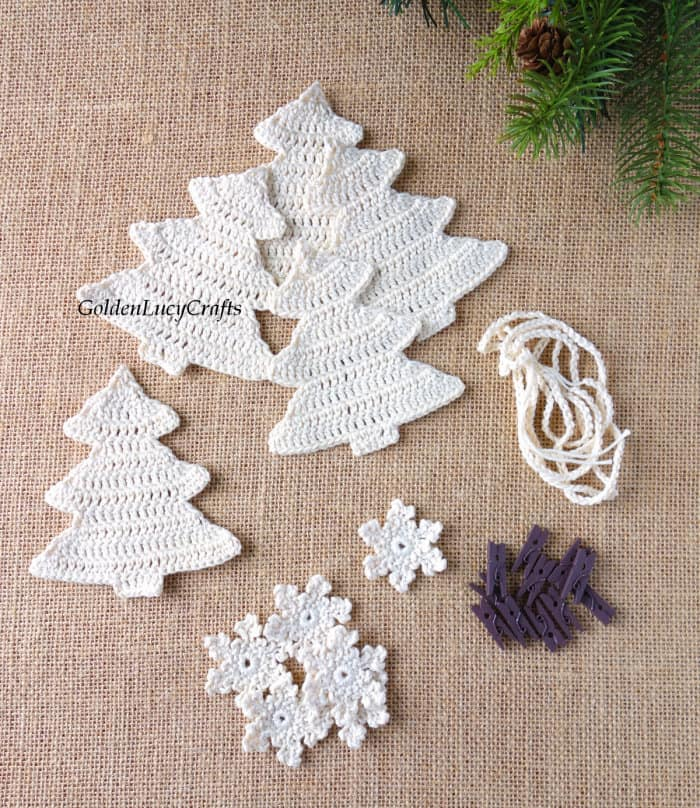 Crochet Christmas tree appliques, crochet snowflakes, craft clothespins