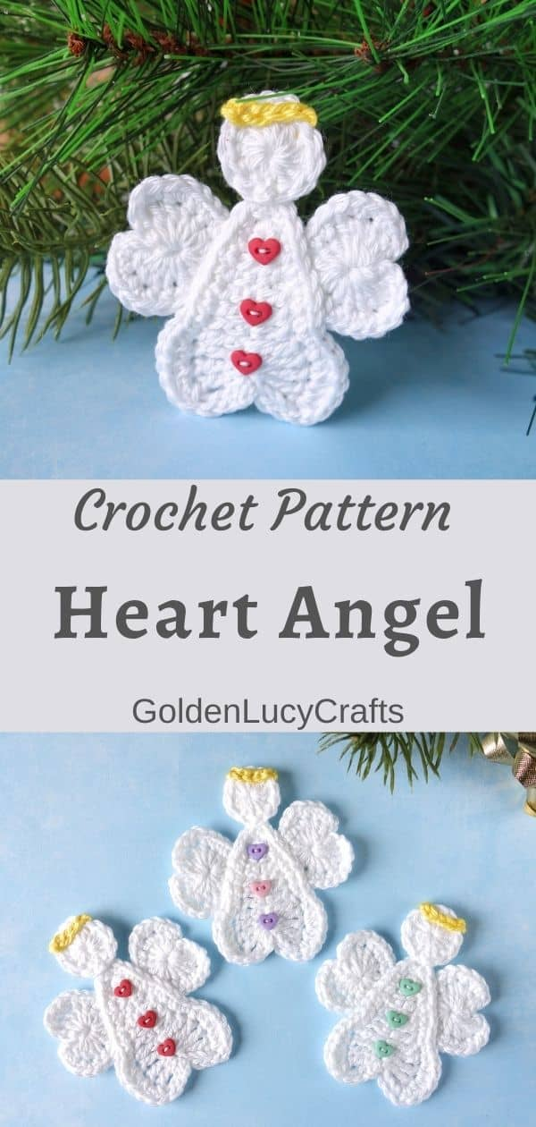 Crochet Christmas heart angels, applique
