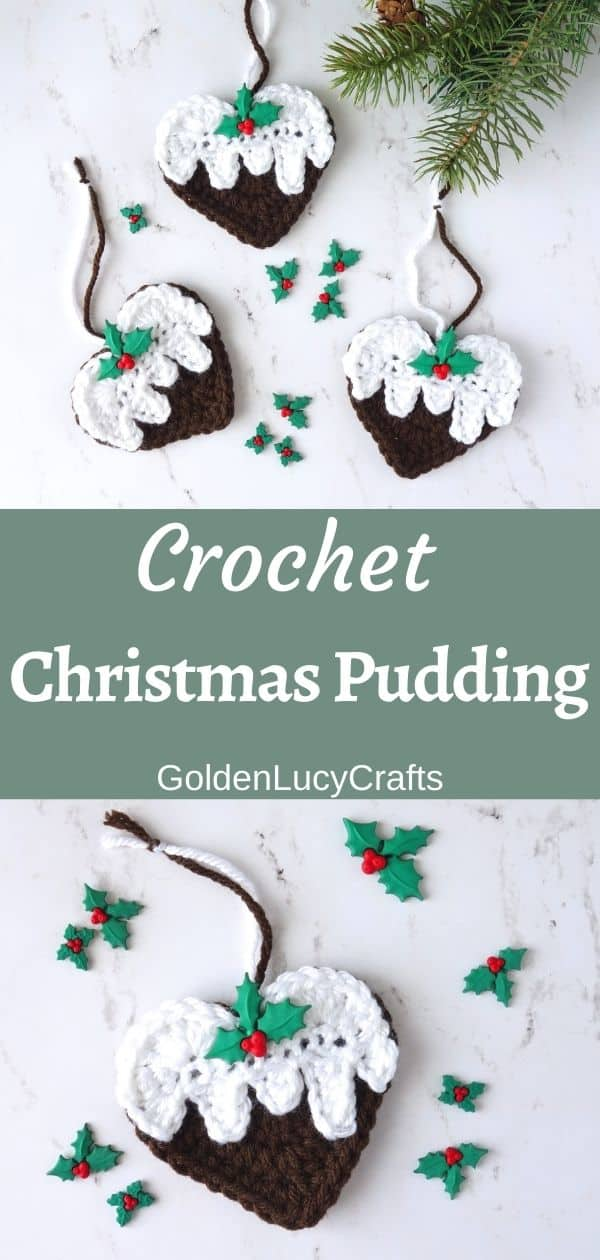 Crochet Christmas pudding ornament, crochet pattern