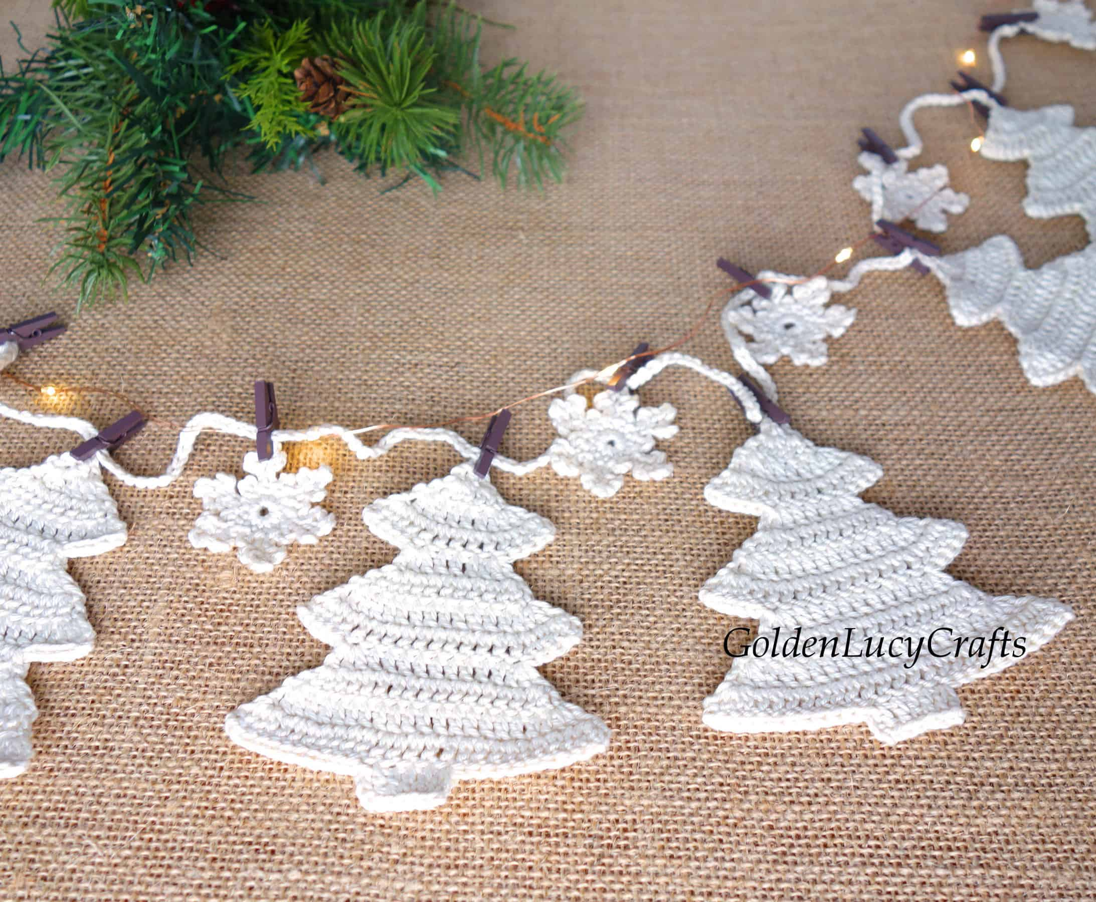 Crochet Christmas trees and snowflakes garland
