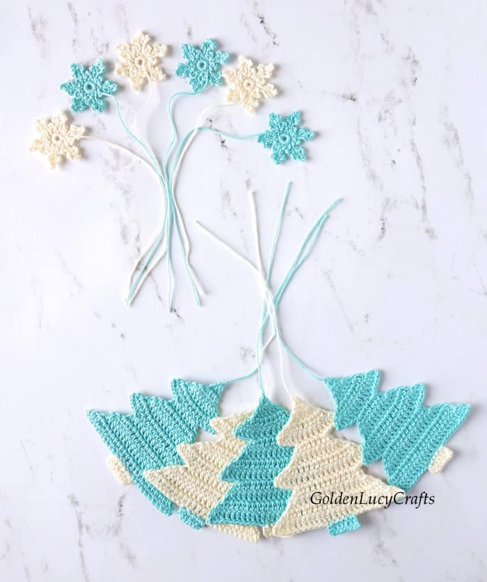 Crochet Christmas tree and snowflake appliques