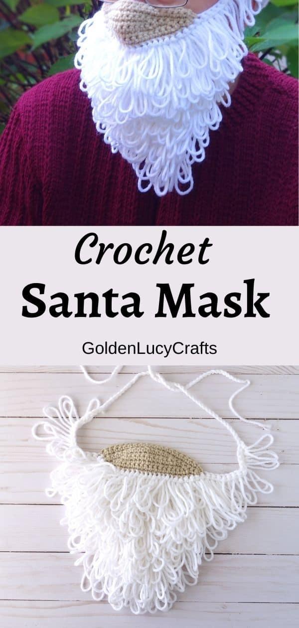 Crochet Santa mask, model is wearing Santa beard mask