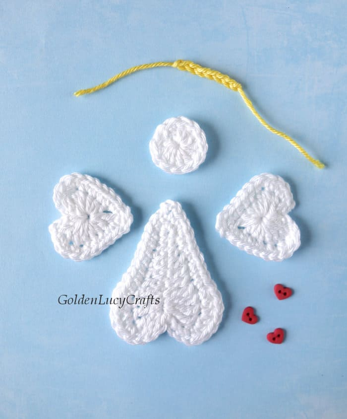 Parts of crocheted angel applique