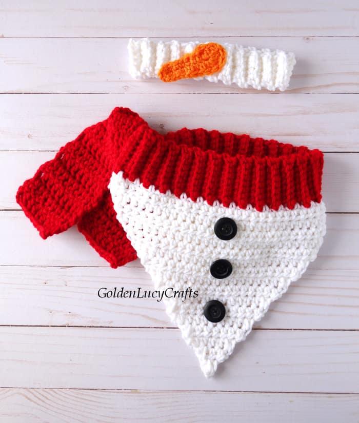 Crochet snowman dog bandana and headband