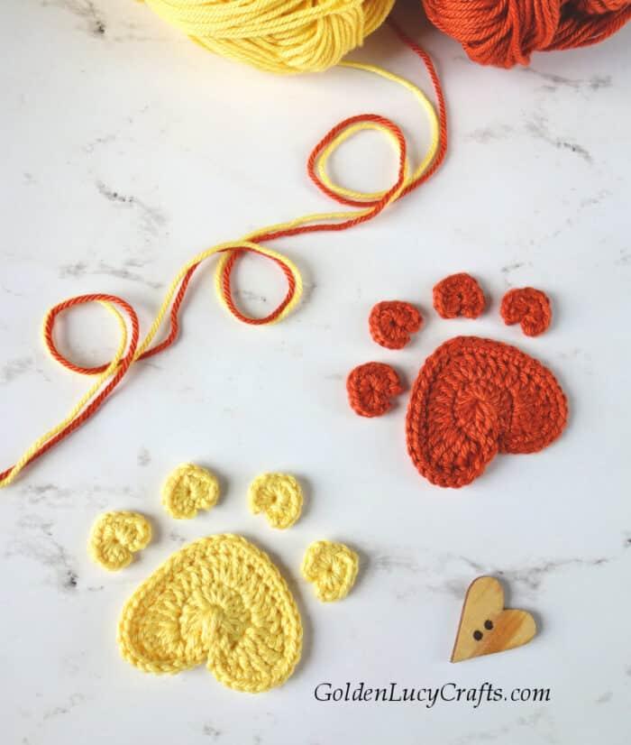 Crochet heart paw print applique