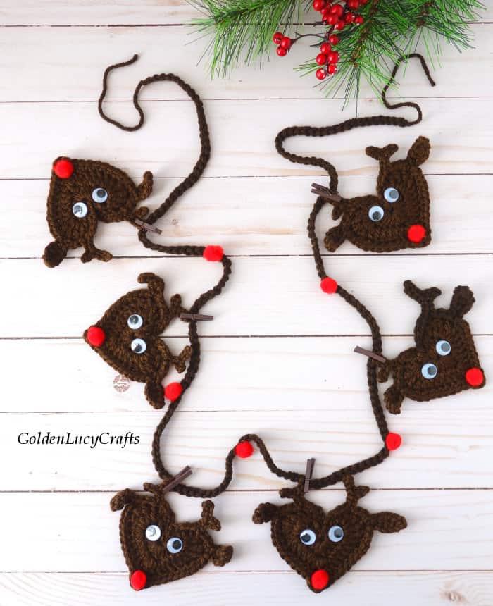 Crochet reindeer bunting