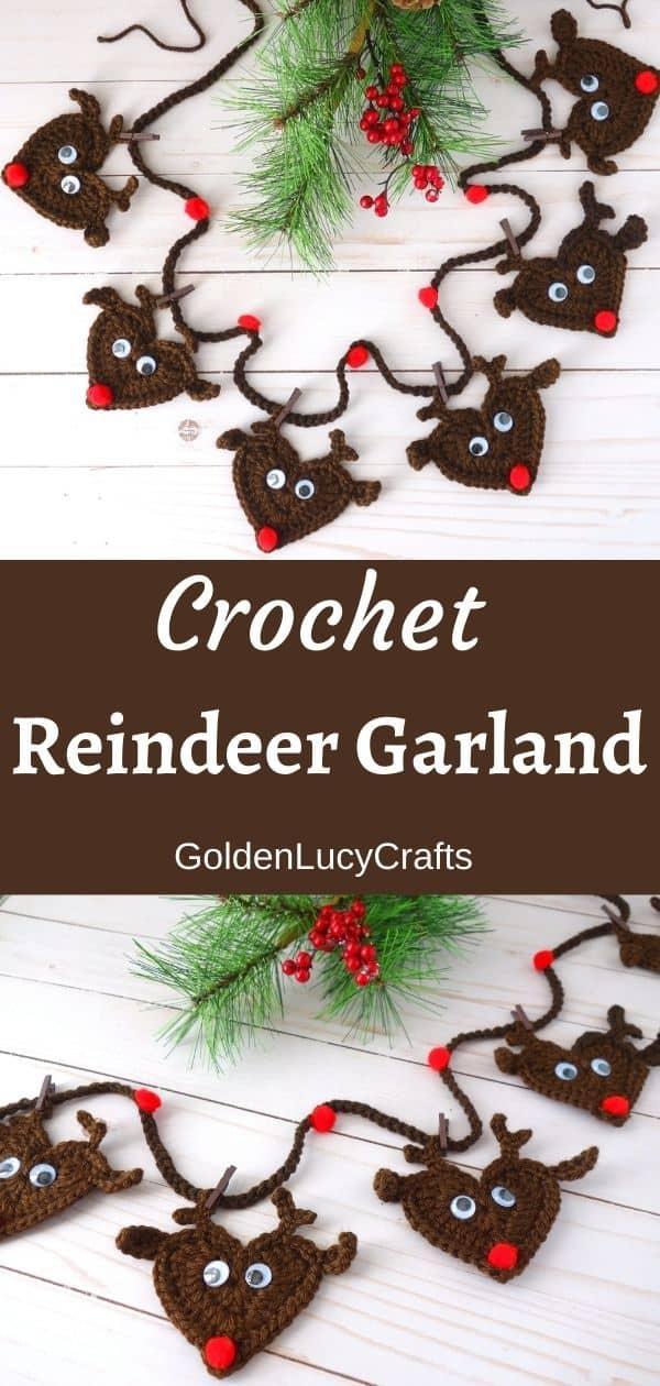 Crochet reindeer garland, bunting pattern