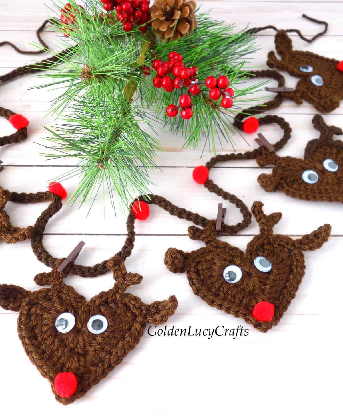 Crochet reindeer garland