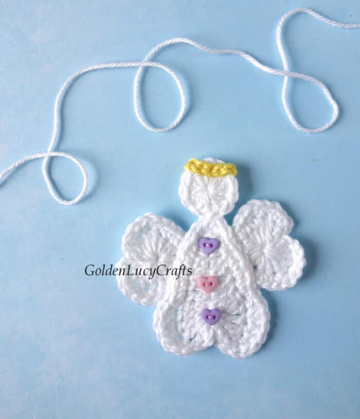 Crochet heart angel applique