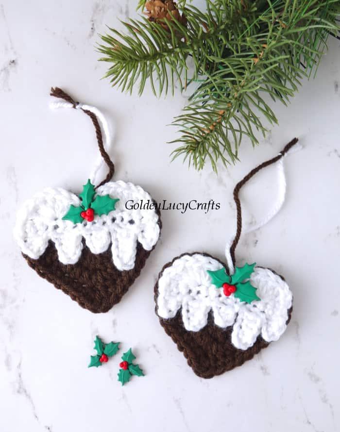 Crochet heart-shaped Christmas pudding