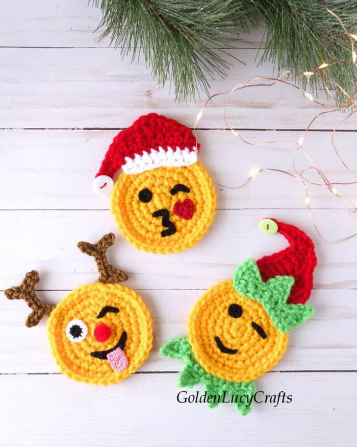 Crochet Christmas emoji appliques Santa, reindeer, elf.