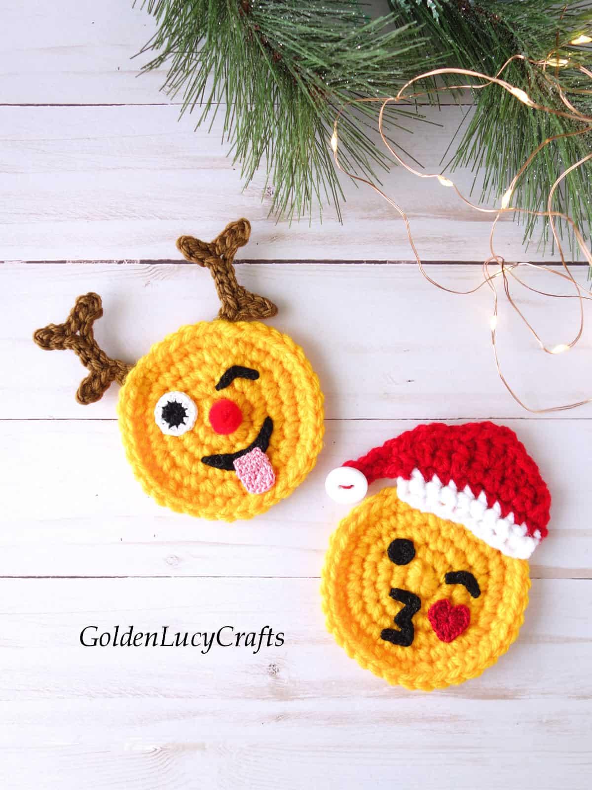Crochet Christmas emojis Santa and reindeer.