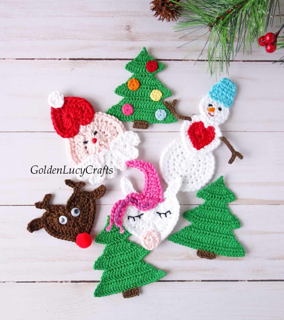 Crochet Christmas appliques - Santa, reindeer, snowman, unicorn, Christmas trees.