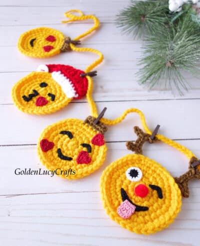 Crochet Christmas emoji garland close up image.