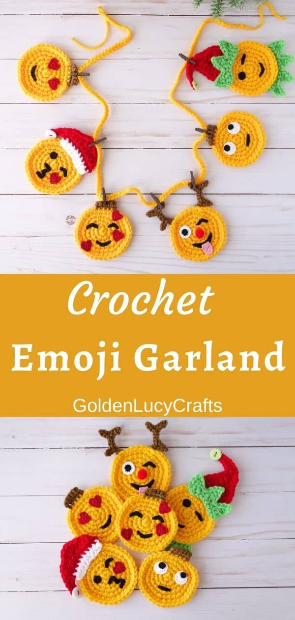 Crochet Christmas emoji garland, crochet emoji appliques, text overlay saying Crochet emoji garland, GoldenLucyCrafts.