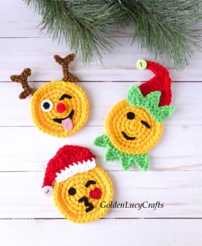 Crochet Christmas emojis - Santa, reindeer, elf.