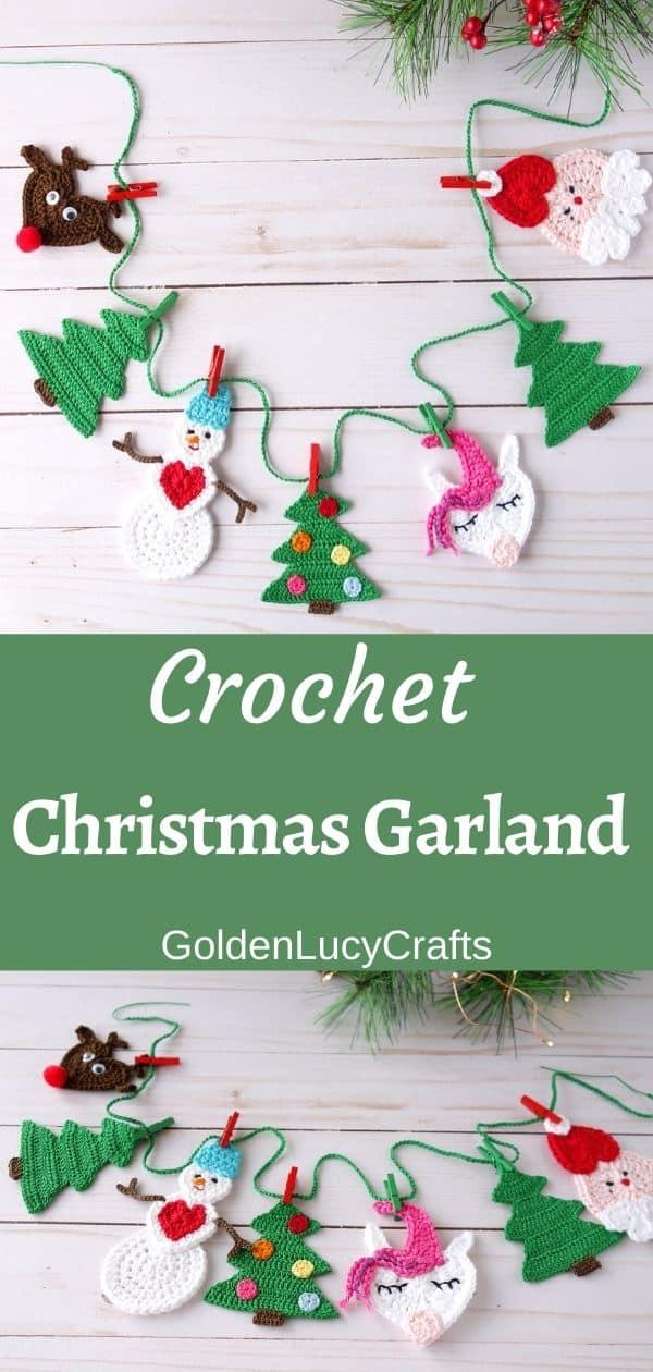 Crochet Christmas garland made using various crochet appliques – Santa, reindeer, Christmas trees, snowman, unicorn.