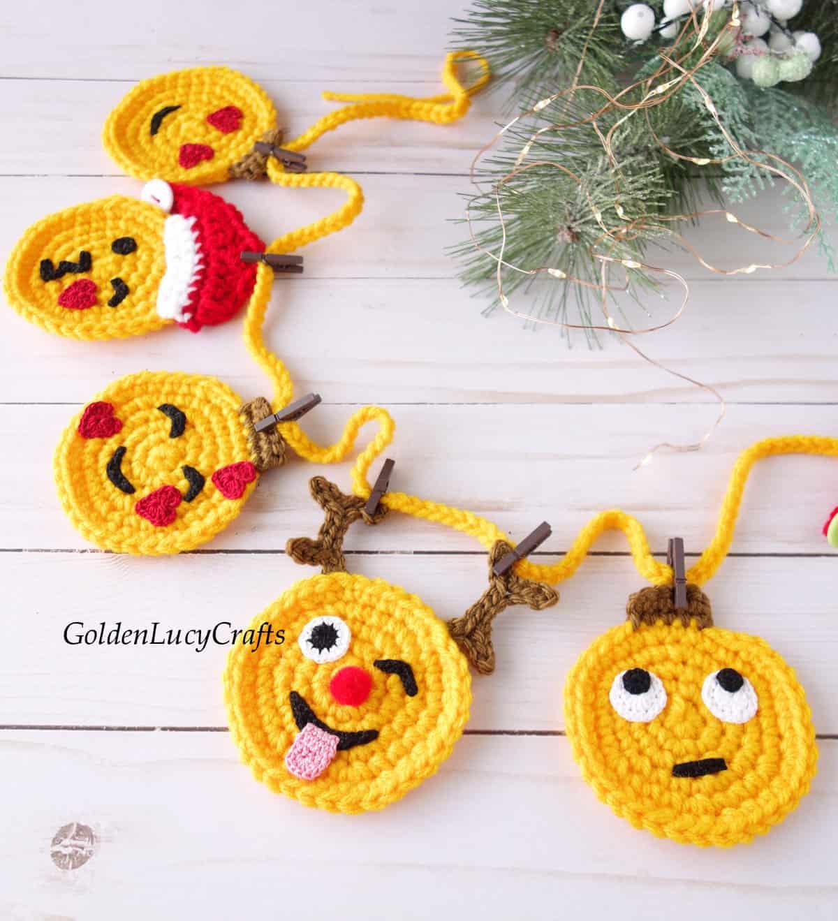 Crochet Christmas garland, crochet emoji garland.