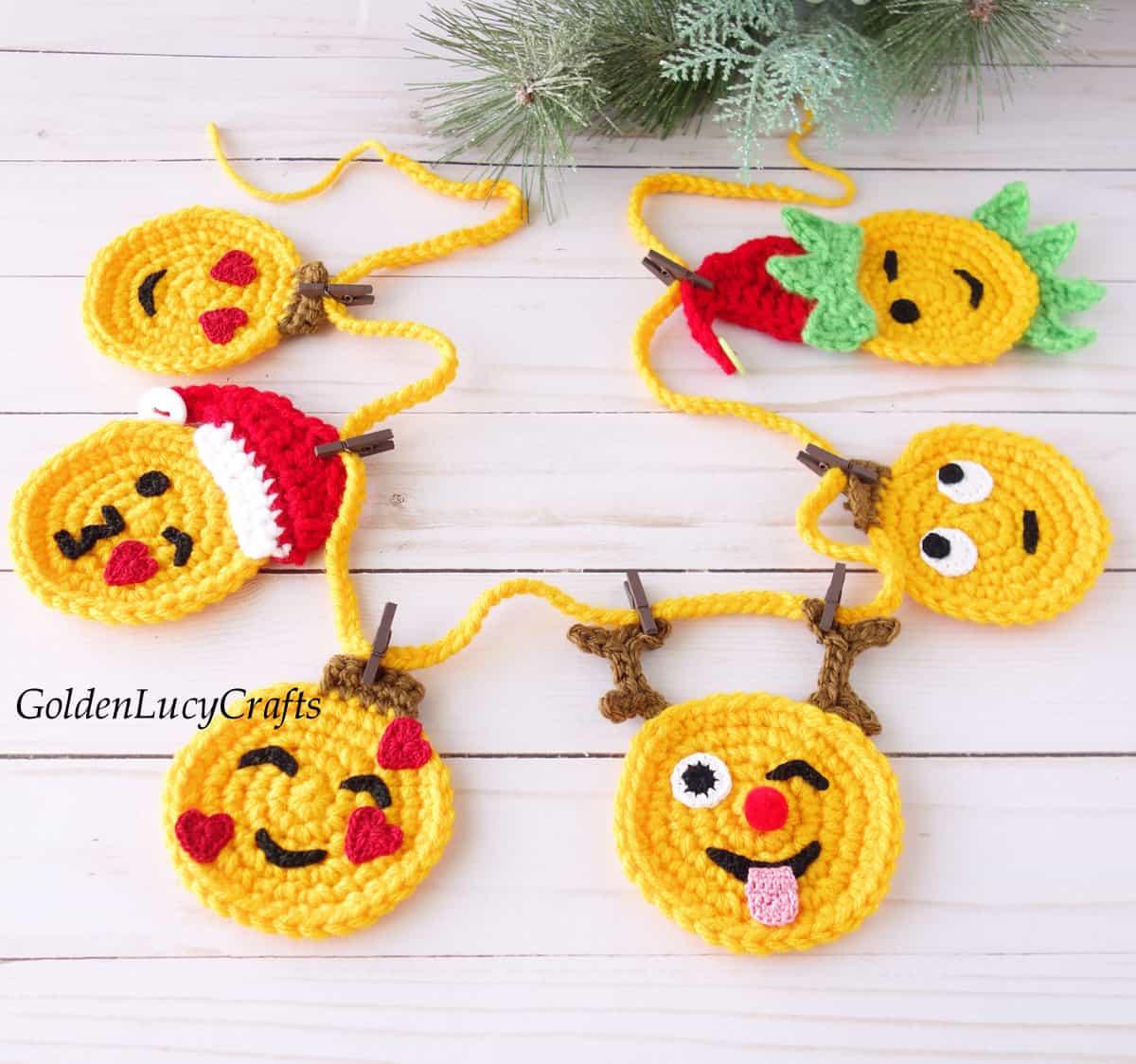 Crochet Christmas garland, emoji garland.