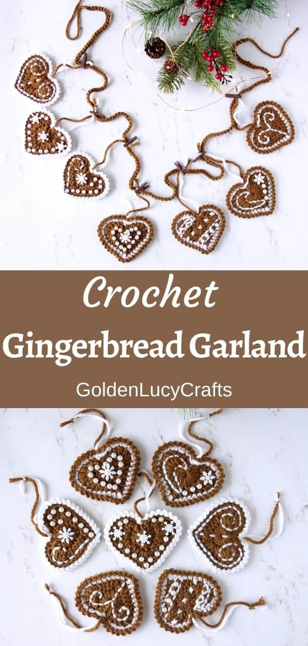 "Crochet gingerbread garland, crochet gingerbread hearts, text in the center saying ""Crochet Gingerbread Garland, GoldenLucyCrafts""."