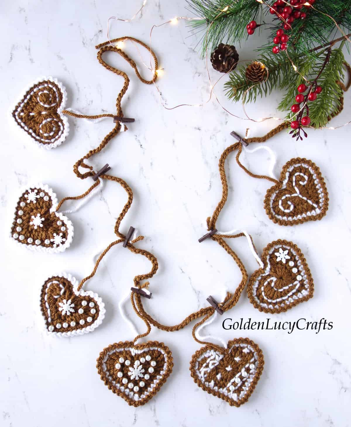 Crochet Christmas garland made from gingerbread hearts