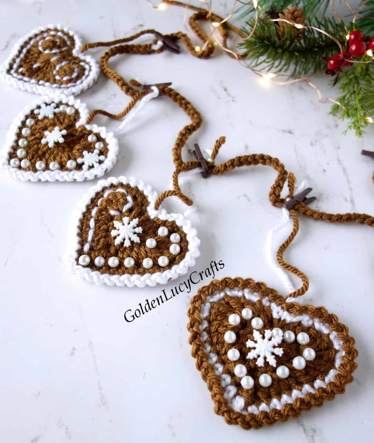 Crochet gingerbread garland close up image