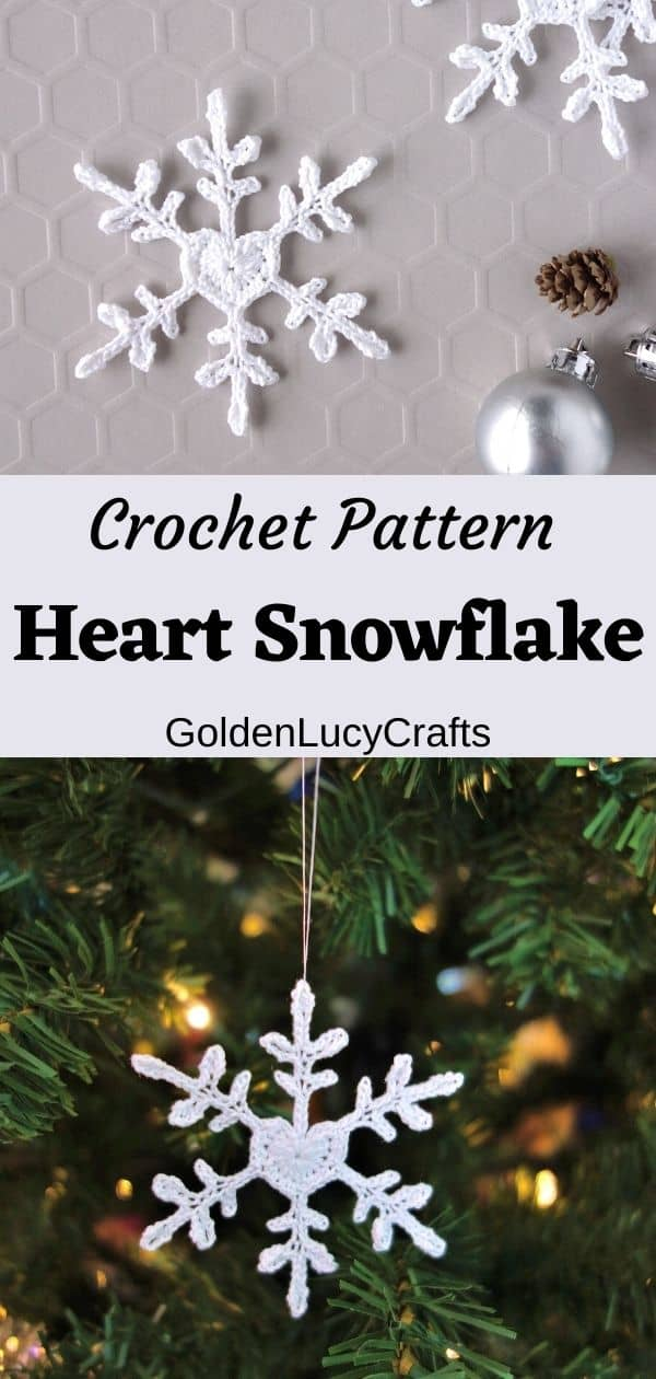 Crochet heart snowflake on the grey surface, snowflake ornament hanging on the Christmas tree.