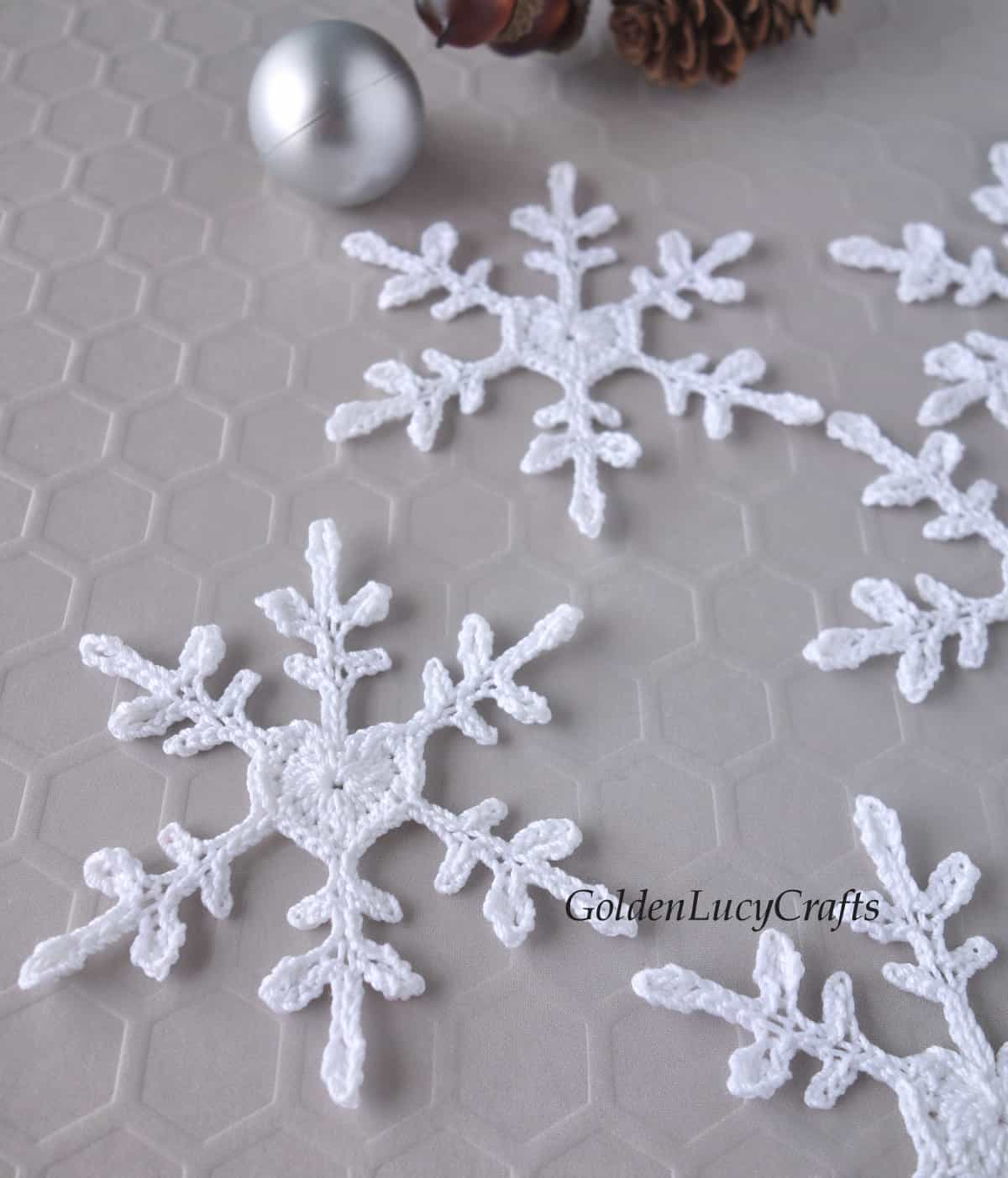 Crochet snowflake close up image.