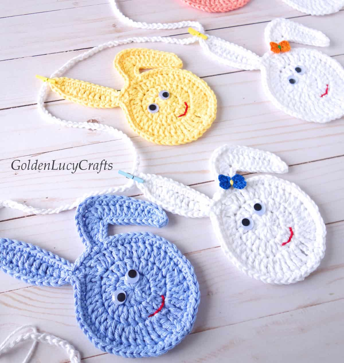Crochet Easter garland, close up image.