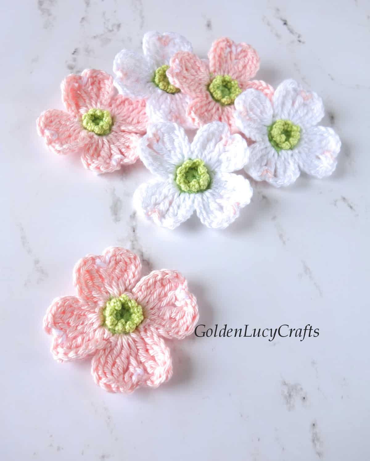 Crochet dogwood flowers.