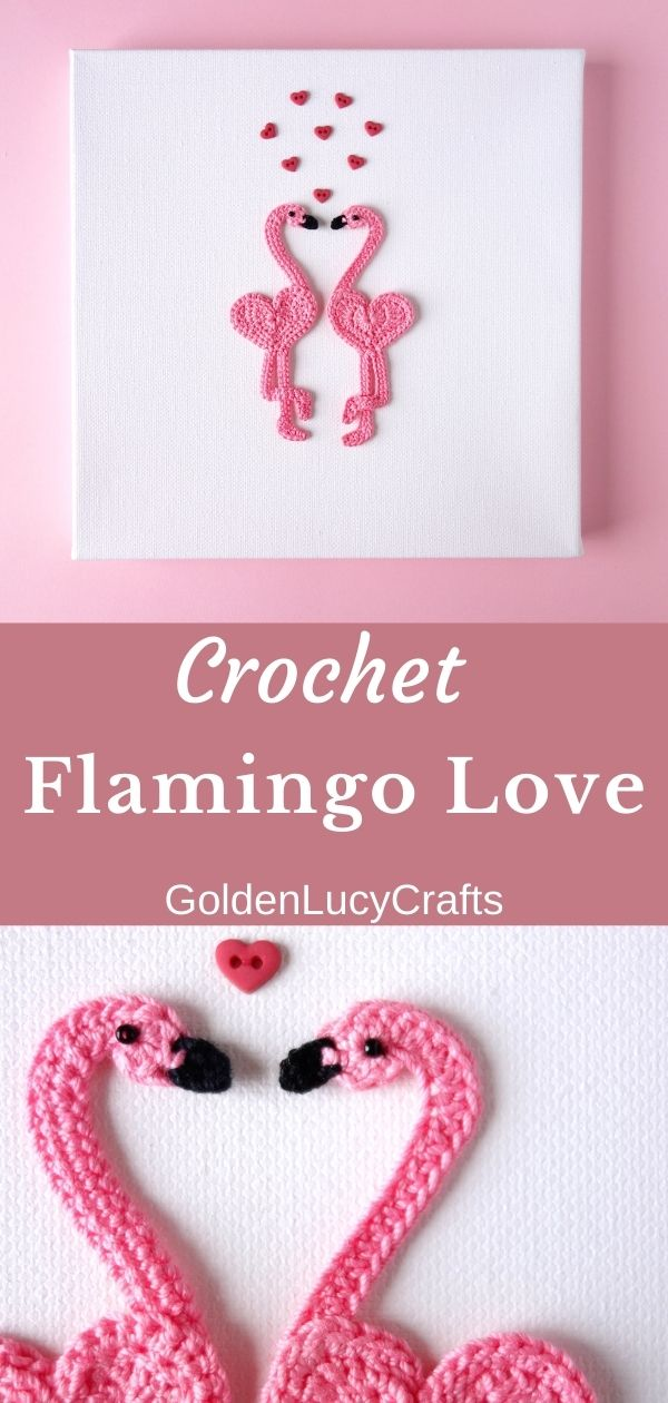 Valentine's Day wall art - two crocheted flamingo applique and small heart-shaped buttons above them.