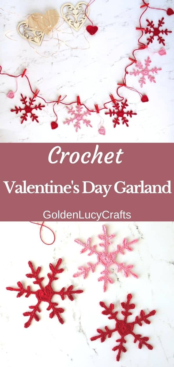 Crochet Valentines Day decoration, garland made from snowflakes and hearts in red and pink colors, crochet heart snowflakes.