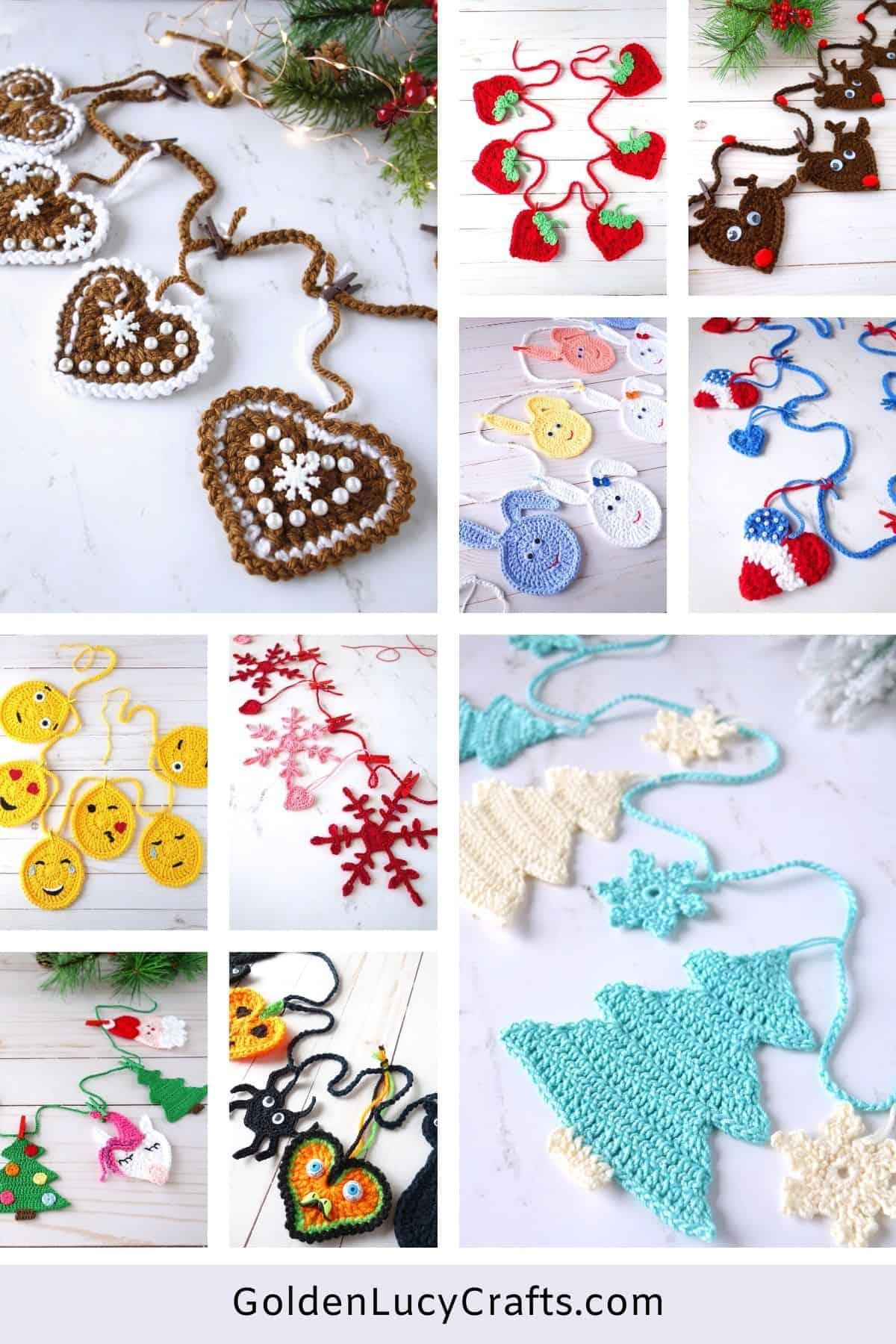 Crochet garlands, images collage.