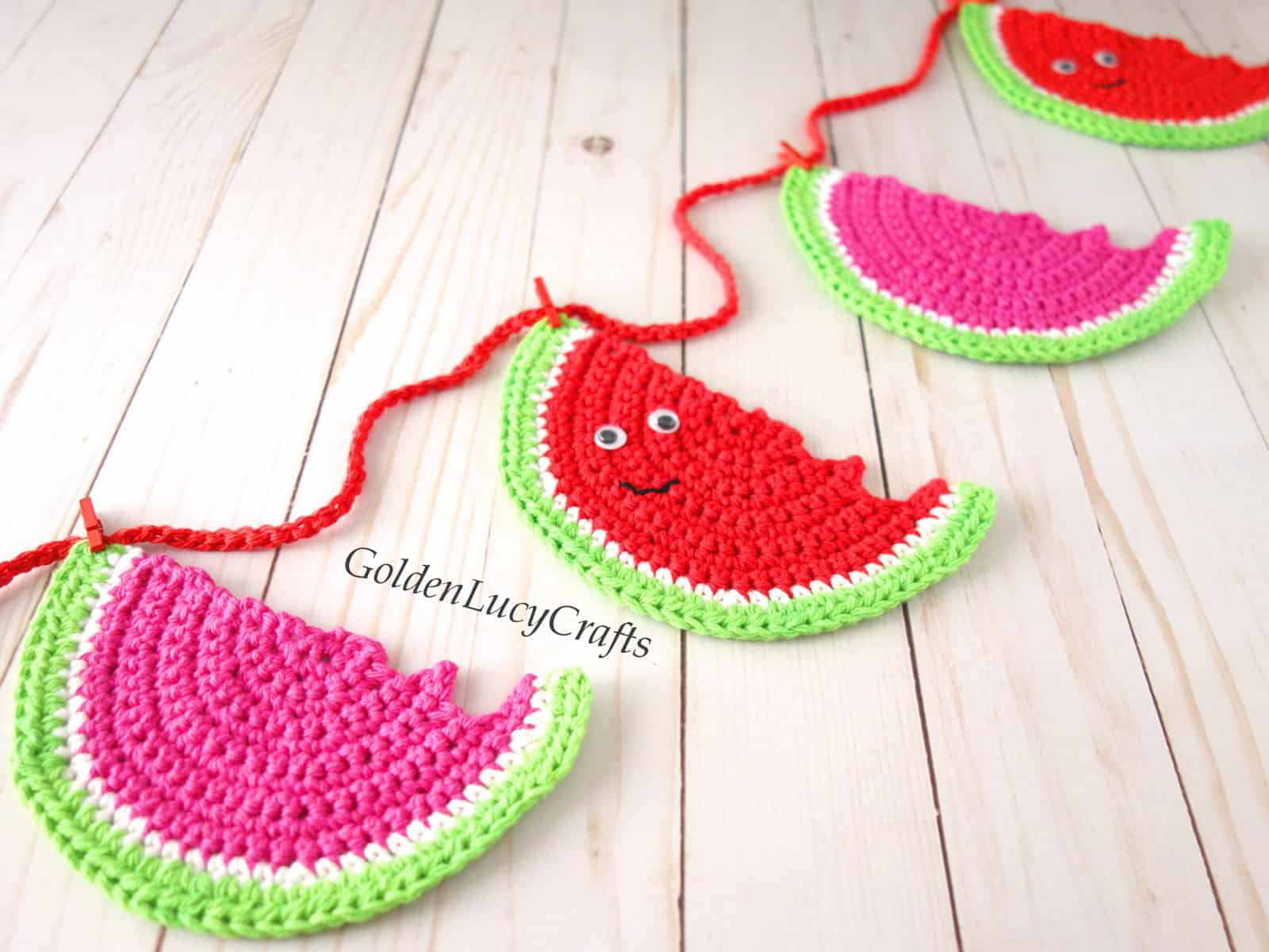 Crochet watermelon garland, close up image.