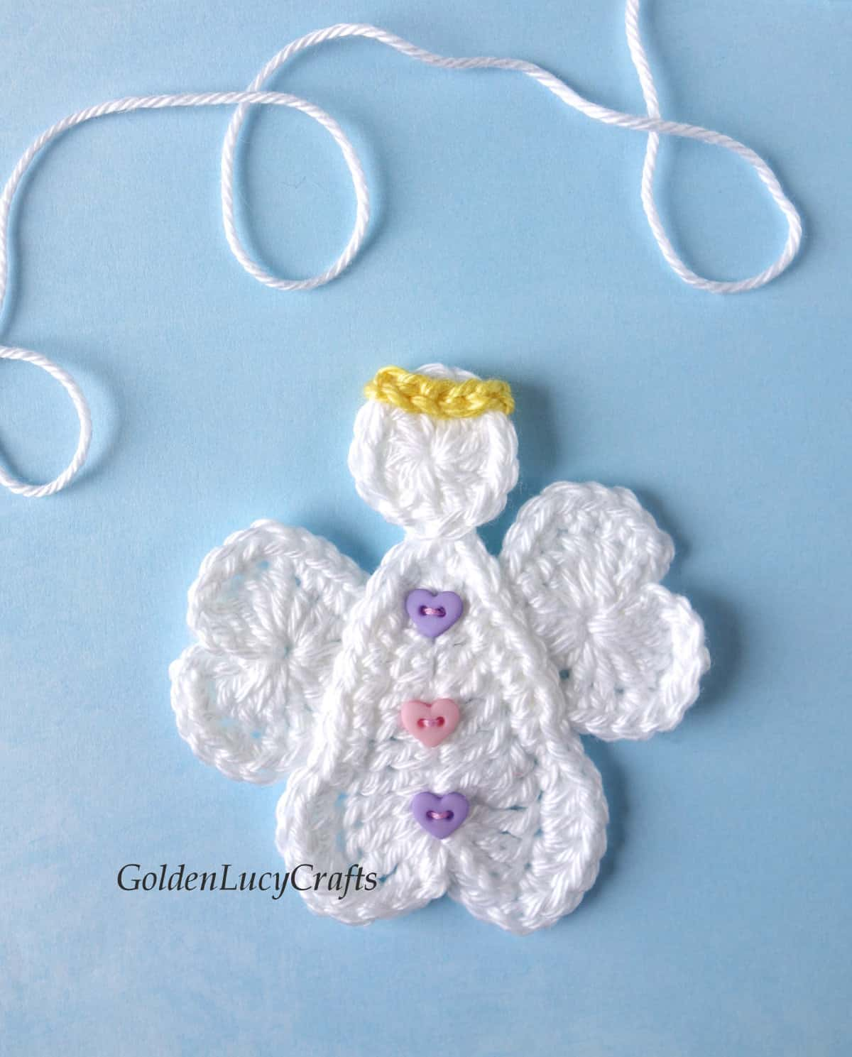 Crochet Angel applique made from hearts.