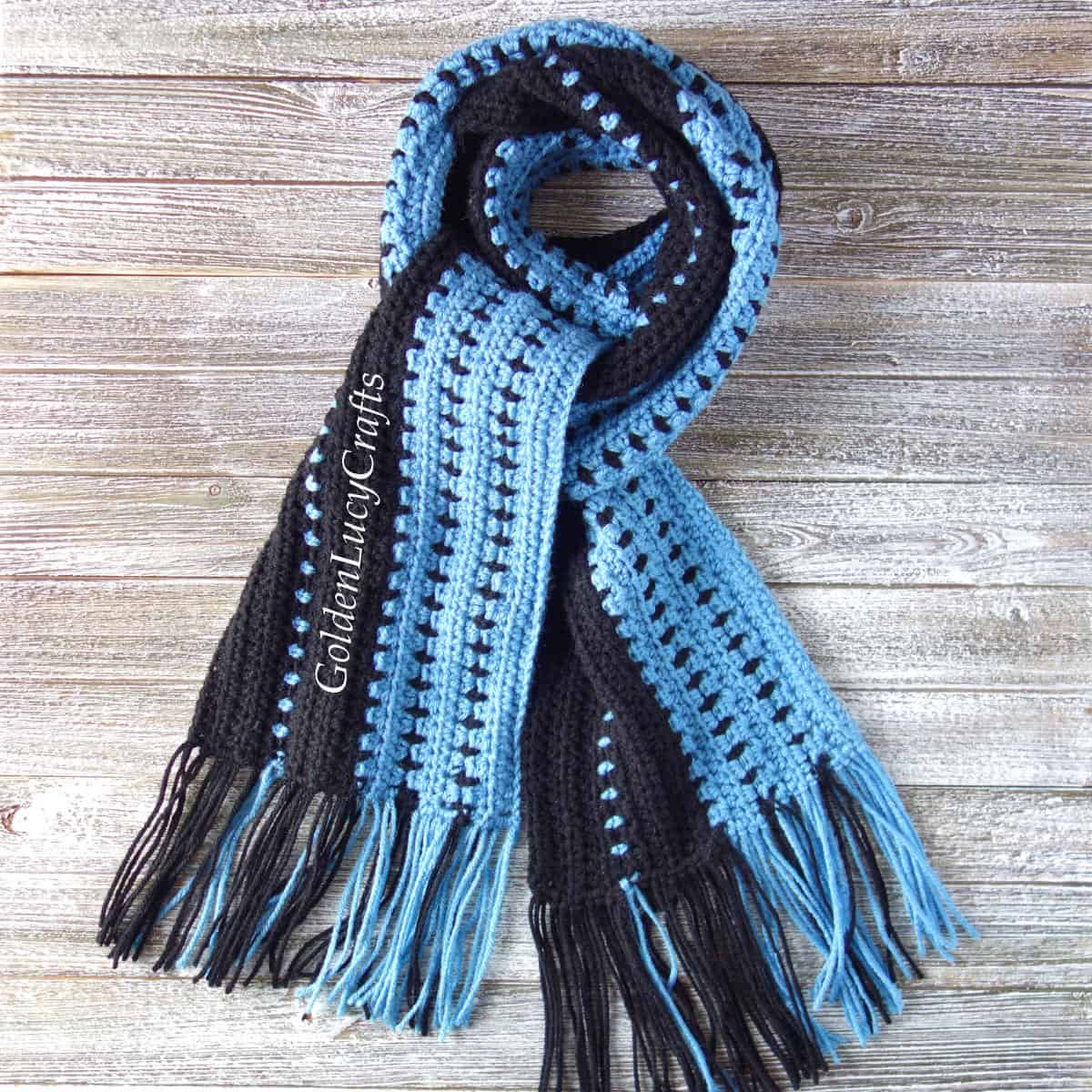Crochet scarf for men in blue and black colors.