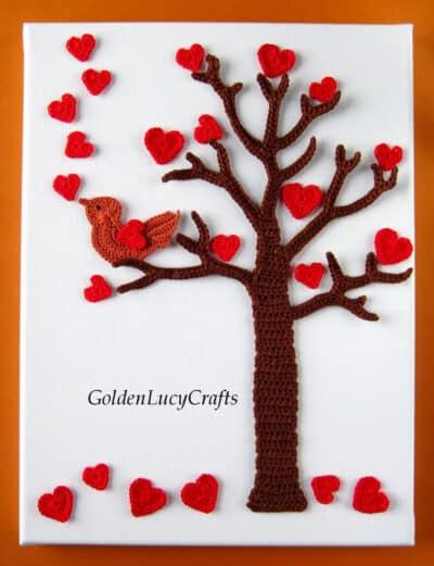 Valentine's Day crochet wall art, tree, hearts, singing love bird.