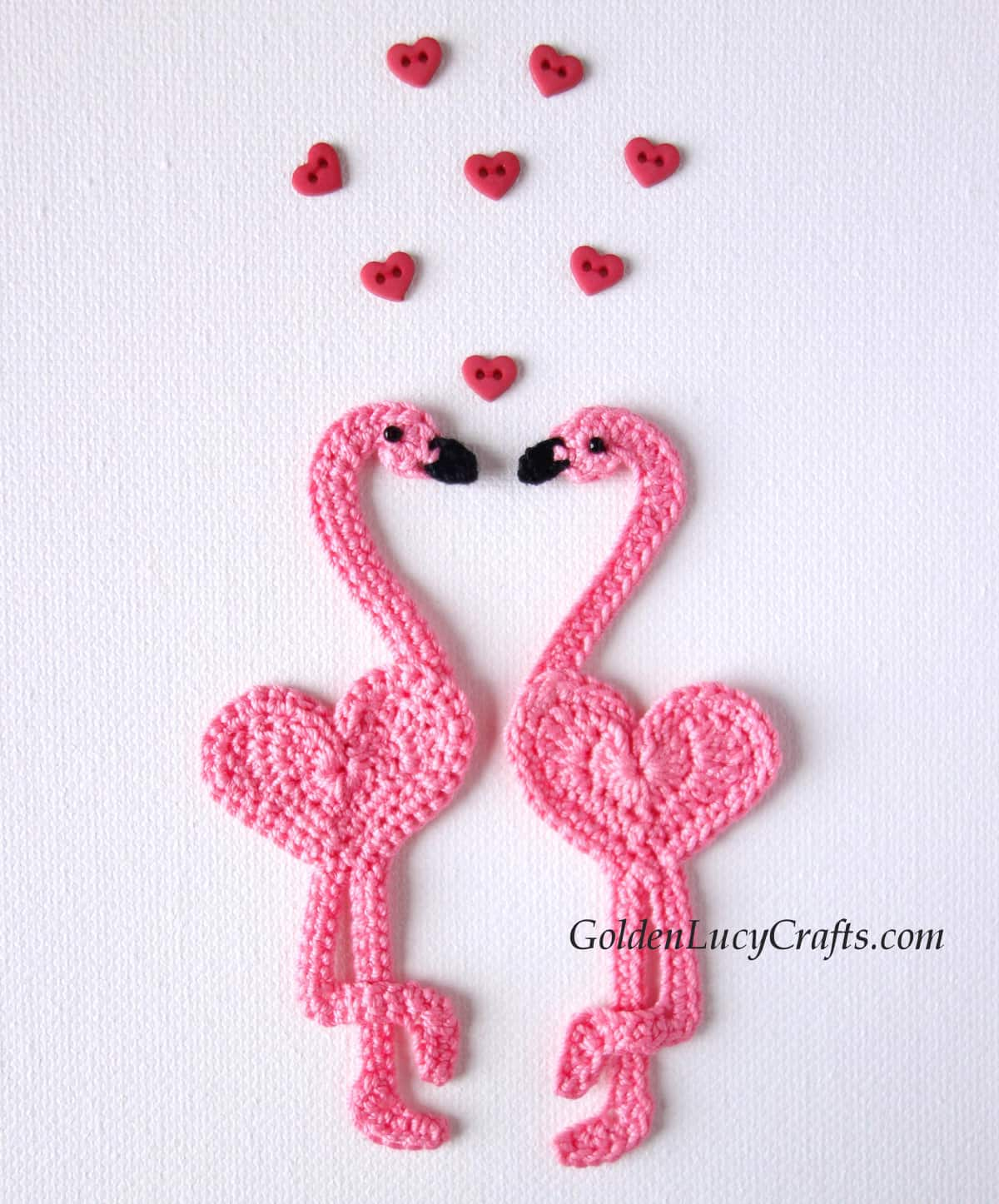 Flamingo love, two crocheted pink flamingo applique.