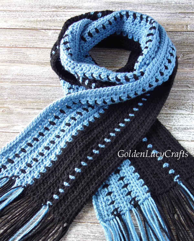Crochet scarf for men close up image.