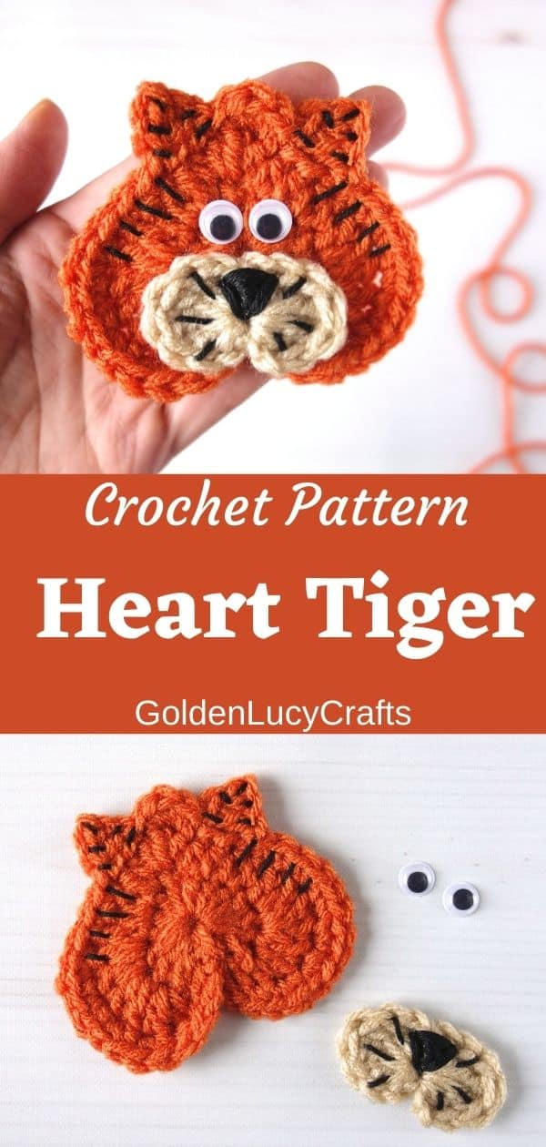 Crochet heart tiger applique in the palm of a hand, parts of the tiger applique.