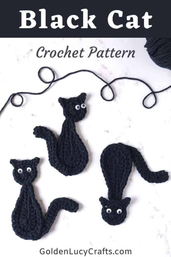 Three black cat appliques, text saying black cat crochet pattern goldenlucycrafts dot com.