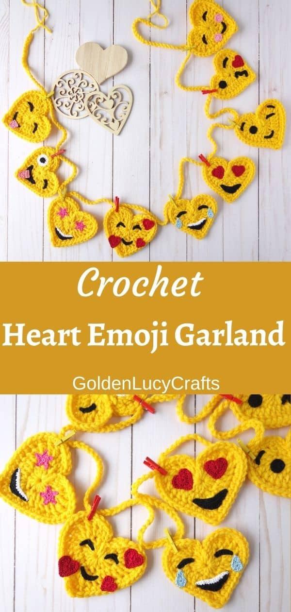 Handmade garland made from crocheted heart-shaped emojis.