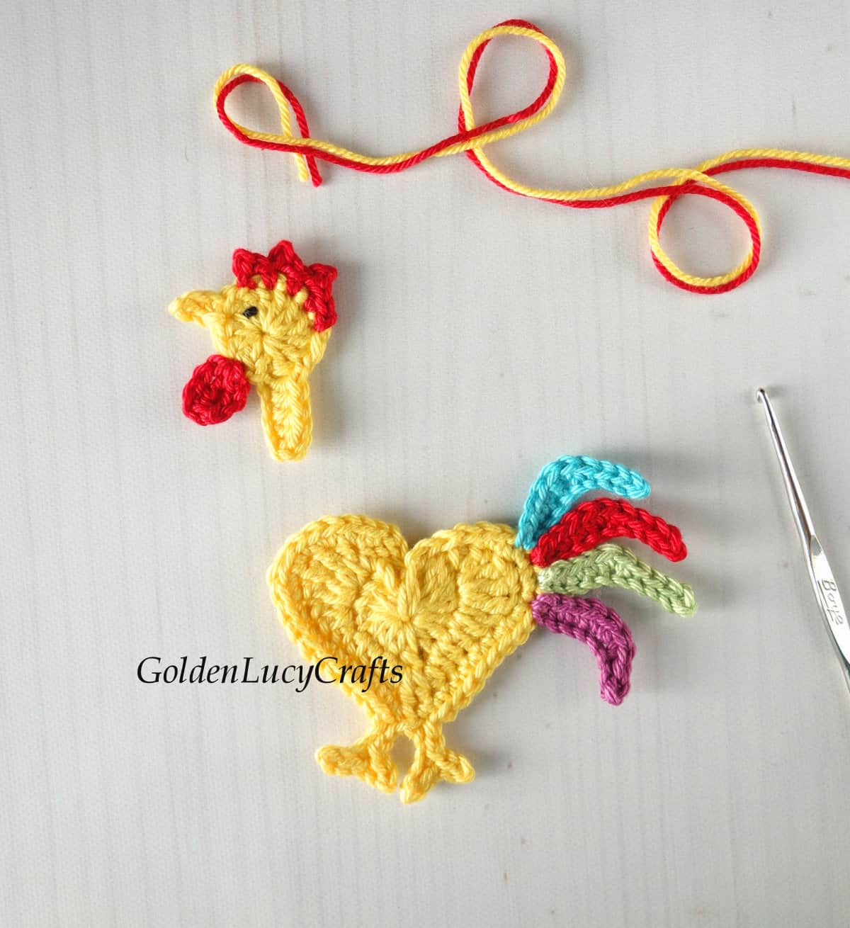 Parts of crocheted rooster applique.