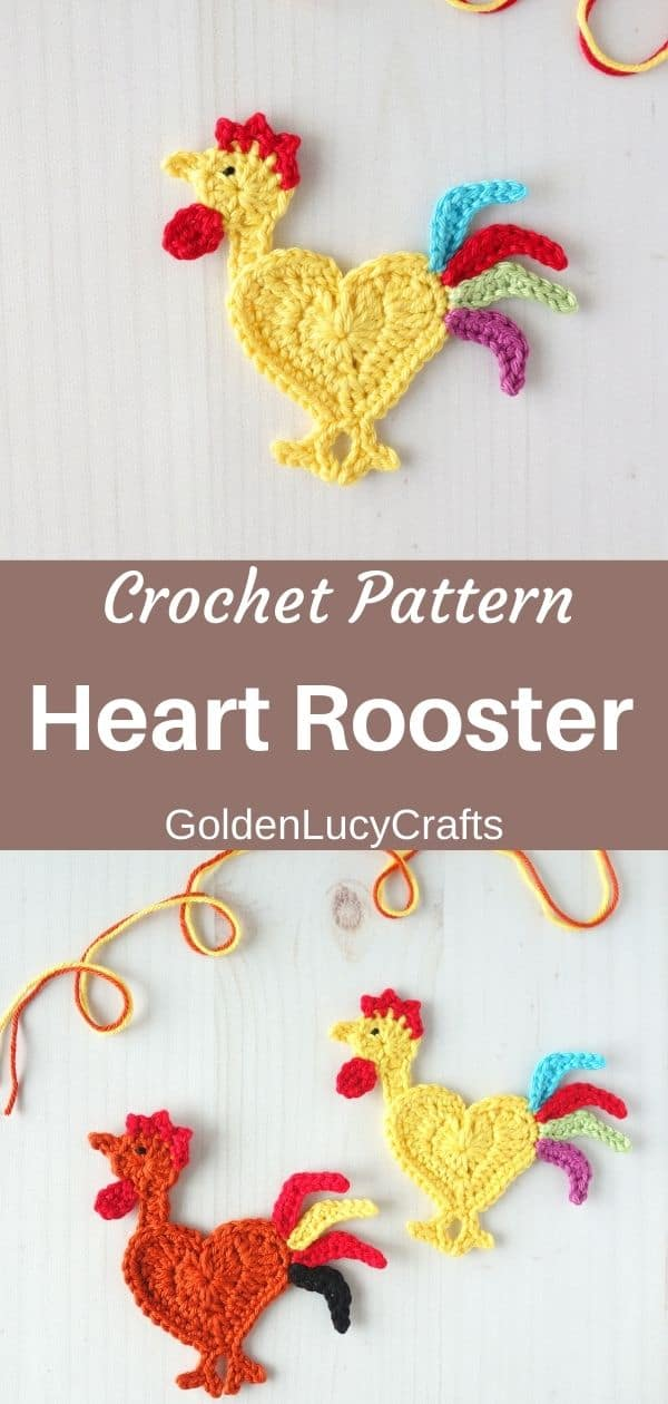Crocheted heart-shaped rooster appliques.
