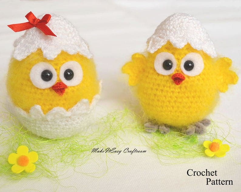 Two crocheted hatched chicks.